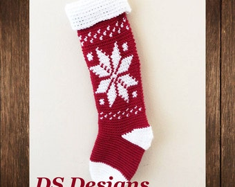CROCHET PATTERN: Snowflake Christmas Stocking Pattern, Christmas Sock Pattern, Cute Christmas Stocking, Family Christmas Stockings
