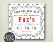Carnival Party Favor Labels // Personalized Favor Labels // Circus Labels // Birthday Party Favors // Wedding Favor Labels