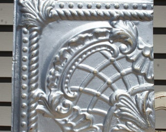 "12"" Antique Tin Ceiling Tile -- Distressed Silver Colored Paint - Ornate Design"