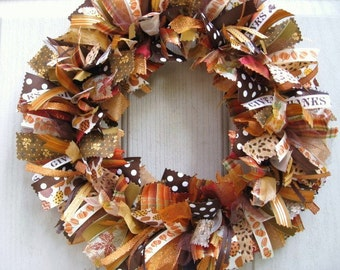 Autumn Wreaths, Autumn Decor, Fall Wreaths, Fall Decor, Rust and Brown Wreath, Thanksgiving Decor, Ribbon Wreath, Fabric Wreath, Door Wreath