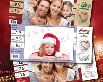 Baseball Christmas Card - printable - digital file - Baseball ticket - Christmas Photo card