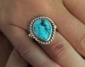 Ring, Turquoise Sterling and Gold handmade ring