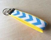 Fabric wristlet keychain, key fob - Blue Chevron