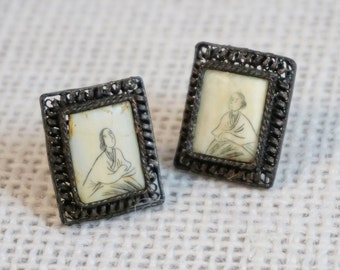 Vintage Chinese Export Silver Filigree Scrimshaw Ox Bone Tile with a Seated Woman Earrings