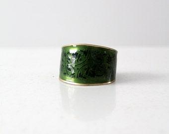70s enamel brass cuff, vintage brass bracelet with green enamel