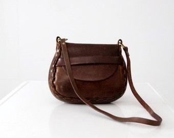 vintage 60s leather bag, hippie purse
