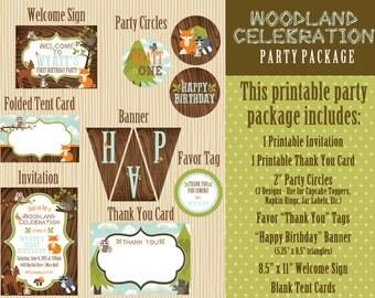Woodland Celebration Printable Party Package - Woodland Animals - Forest - Woodland Birthday