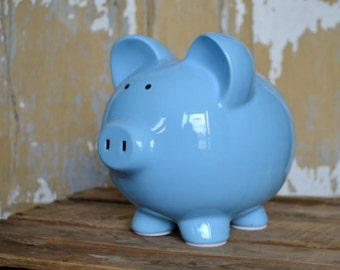 Light Blue Large Ceramic Piggy Bank - Personalized