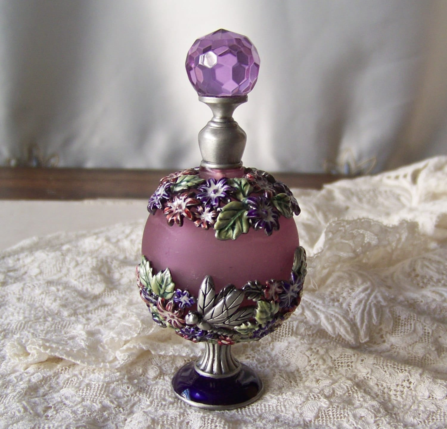 Vintage perfume bottle frosted glass by cynthiasattic