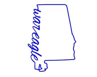 Auburn War Eagle State Outline SVG or Silhouette Instant Download