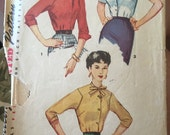 Vintage 1950s blouse top sewing pattern Simplicity bust 34 xs s VLV rockabilly