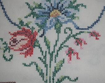 Long Embroidered Table runner  .Lovely handmade flowers design. 15.5 x 33  inches Doily.