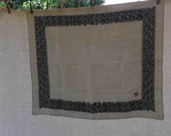 Vintage Tablecloth or Topper, White Damask with Blue Floral Border, MW Monogram