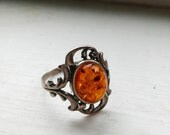 Amber Ring-Vintage Baltic Amber Ring-Fossil-Rings-Sterling Silver-Etsy Jewelry-Starsight Jewels-Healing Gemstones