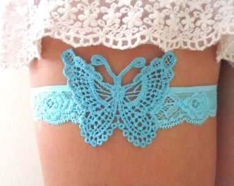 Wedding Garter Bridal Lace Jarretelle Jarretiére Butterfly Something Blue Romantic Boho Woodland Bridal Guipure Accessories : RAMA
