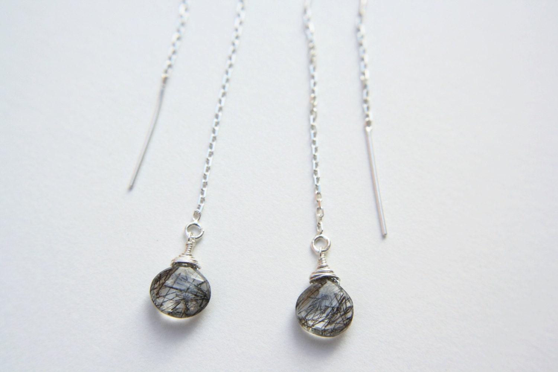 Tourmalinated Quartz Thread Earrings In Sterling Silver  Rutilated Quartz  Earrings  Sterling Silver Thread Earrings  Threader Earrings
