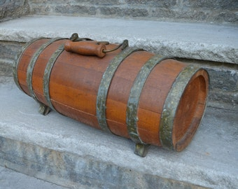 Antique Vintage Wine Rum Cask Nautical Wood Barrel with Handle
