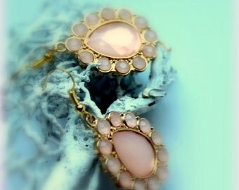 baby pink drop earrings