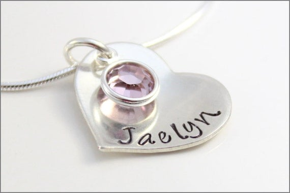 Personalized 1 Name Necklace with Round Birthstone | Sterling Silver Heart Pendant with Chain