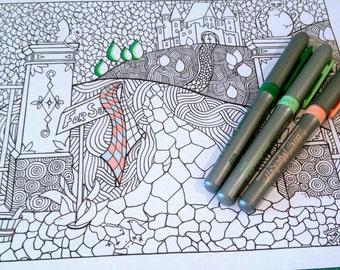 Coloring Page Doodle Castle Scene Nature Design Adult Kids Printable Drawing Art Activity
