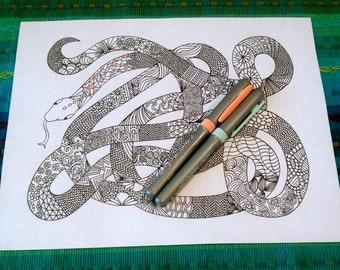 Zentangle Snake Coloring Page Doodle Animal Design Printable Pattern Illustration Kids Art Adult Activity