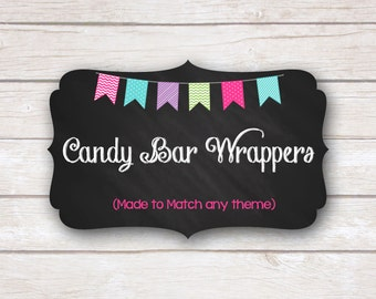 Candy Bar Wrappers. Made to Match. Party Printable.