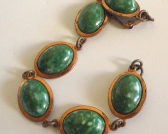 Copper or Copper Tone Links Bracelet with Green Stones
