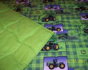 "Handmade Toddler  Bed or Crib Size   Quilt  Comforter 36 "" x  52 '' Lt Green Plaid John Deere Fabric"
