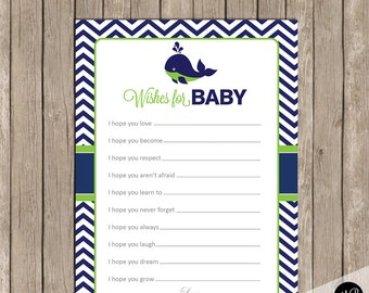 Wishes for Baby Whale Lime Green and Navy, baby shower activity, baby shower baby well wishes, Whale theme  INSTANT  WLN01