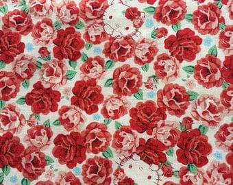 Hello kitty Rose garden fabric half yard Red rose colour