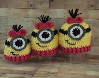Hand Crochet Baby Girl Minion Hat ~ Yellow, Pink, Black