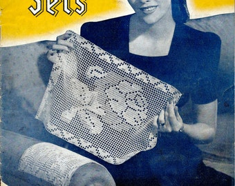 1940's Crochet and Knit Pattern Booklet - Chair Sets , New Ideas in Chair Sets and Runners  Book No. 181