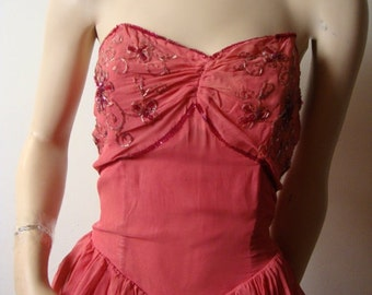 Costume 1930s Lipstick Pink Strapless Chiffon and Sequin Party Dress with Peplum  Size M to L Faerie Dress