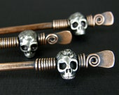 Copper & Silver Skull Hair Stick Pin, Hair Accessories, Scull Hairstick, MADE TO ORDER