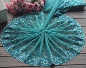 2 Yards Embroidered Lace Trim Big Flower Embroidered Green Tulle Lace Trim 10.23 Inches Wide