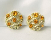 Vintage Lisner Clip On Earrings Amber Gold Glass Rhinestone Floral Autumn Fall