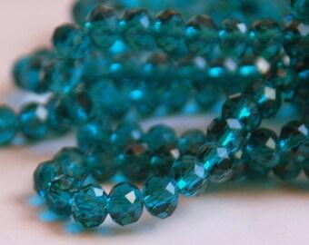20 pcs 6x4mm Transparent Dark Teal Rondelle Glass Crystal Beads
