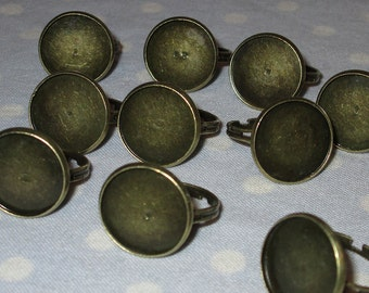 LOT OF 10 - 16mm Antique Brass Bronze Rings Flatback Cameo Frame Base Setting Adjustable Jewelry Findings Craft Supplies Destash