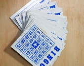 Set of 10 Vintage Blue and White Bingo Cards