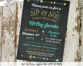 sip and see invitation gender neutral gender reveal baby sprinkle chalkboard tribal arrows girl boy coed (item 1259) shabby chic invitations