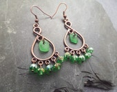 Chandelier Earrings Scottish Sea Glass in Green and Copper, Scotland Jewelry