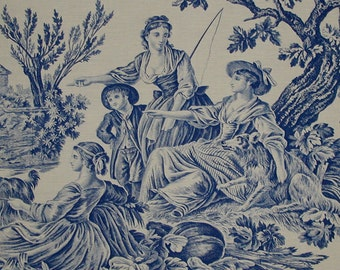 "VERY RARE Antique 1900s Edith Wharton Original Schumacher Toile ""Le Meunier Son Fils et L'Ane"" in Blue and White - 2.75 Yards"