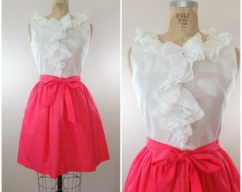 1970s Dress / Lacey Ruffles Dress / Pink and White Dress / Vintage 70s Dress / Small