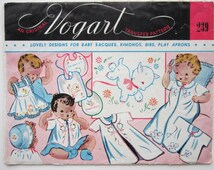 Vintage Vogart 239 Embroidery Transfer for Baby Bibs Sacques Pinafores Unused