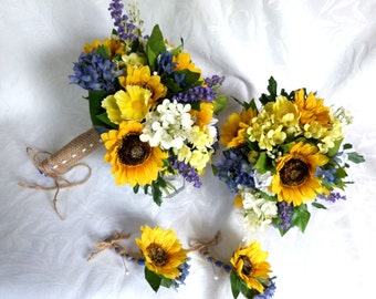 Sunflower and lilac Bouquet set