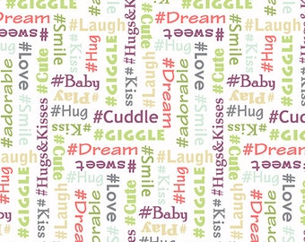 Baby Chic Words by Firetrail Designs for Andover Fabrics