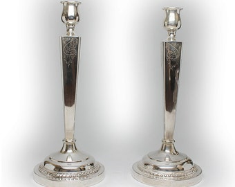 """Gorgeous Chased Pair of 10-1/2"""" Solid Sterling Silver Candlestick"""