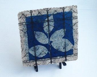 botanical print, cyanotype on handmade paper, pressed leaf art