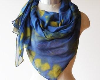 shibori dyed silk chiffon scarf, indigo and chartreuse wrap, dark blue scarf