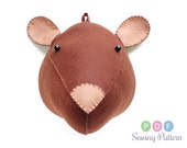 Large PDF Sewing Pattern, Plush Bear Mouse DIY, Animal Stuffed Head Tutorial, Felt Faux Taxidermy